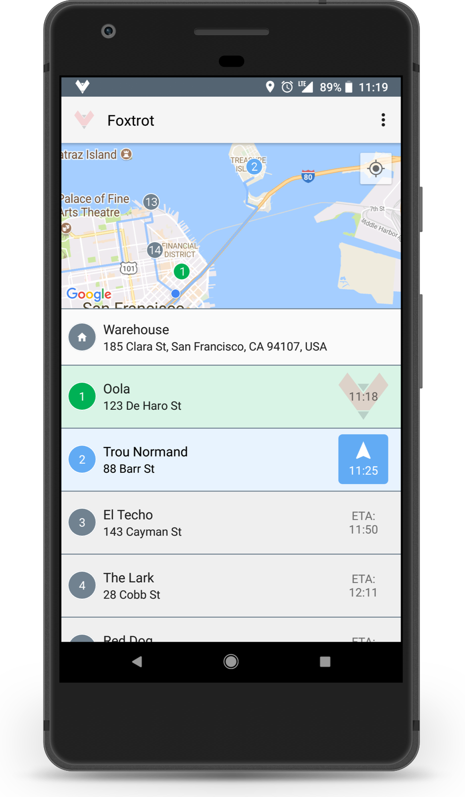 Foxtrot driver app which shows the driver's stop list and optimized route on a map.